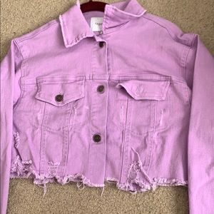 Lavender jean ripped jacket